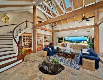 Open floor plan with views to ocean