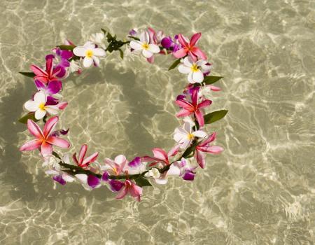 hawaiian lei floating in the ocean