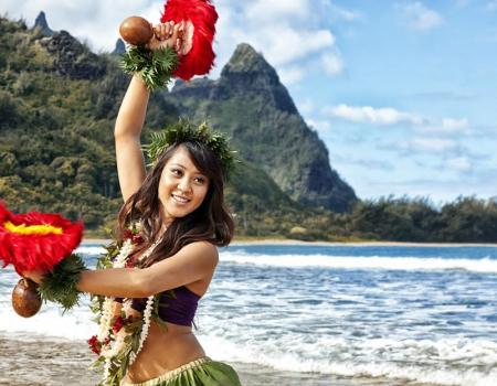 hula dancer on beach in hawaii
