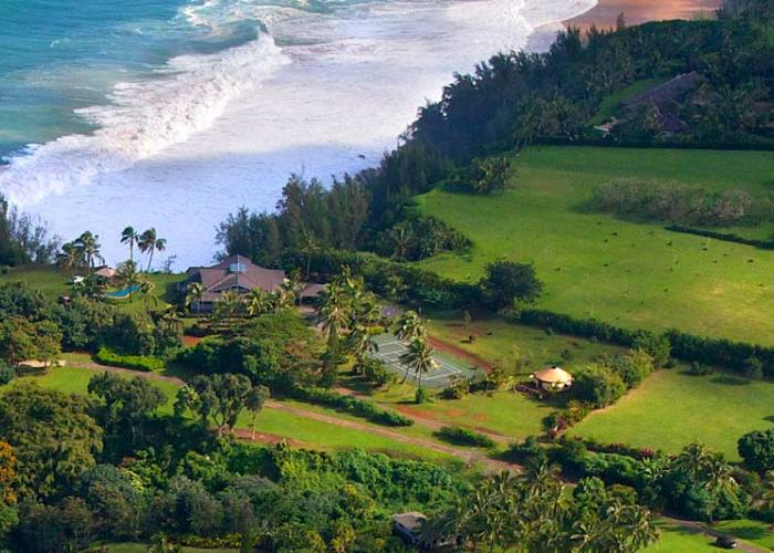 Overhead view of property and beach