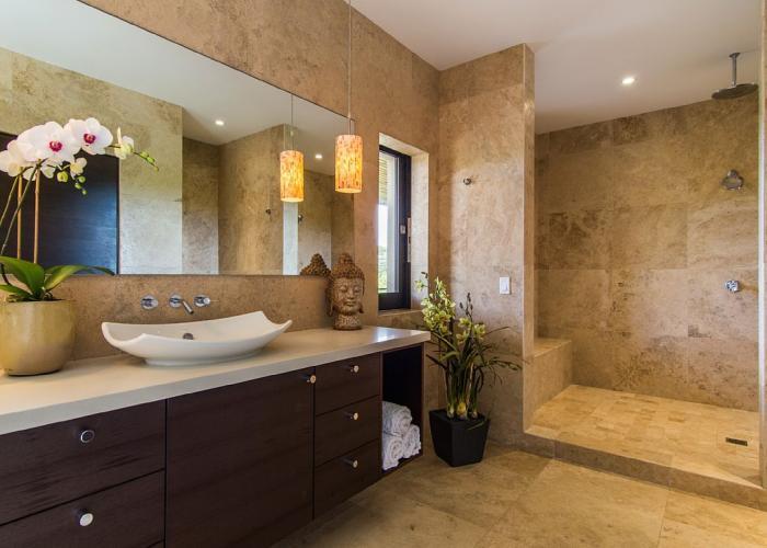 Bathroom with dual shower heads