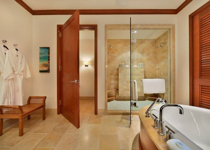 Master Bedroom Bath with Deep Tub, Robes, Private WC, Dual Walk-in Shower, Dual Vanities, Scale, Make up mirror, Hair Dryer. Note: TV has been removed from the bathroom.