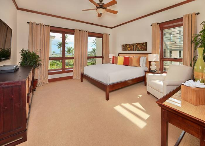Second Master Bedroom with Partial Oceanview, King Bed, Walk-in closet, Large Screen HD TV & HD Cable, HD CD/DVD, iPod dock, Velvet Lined Drapery, Carpet, Reclining Vanilla Leather Reading Chair, Private En-suite Bath