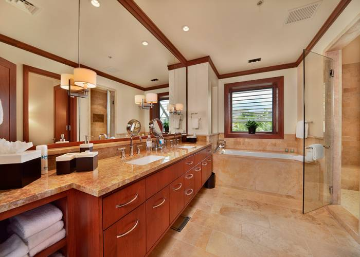 Second Master Bath with Deep Tub, Robes, Private WC, Walk-in Shower, Dual Vanities, Scale, Make up mirror, Hair Dryer