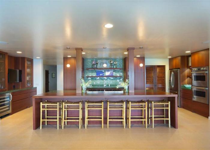 Gourmet kitchen with bar stools