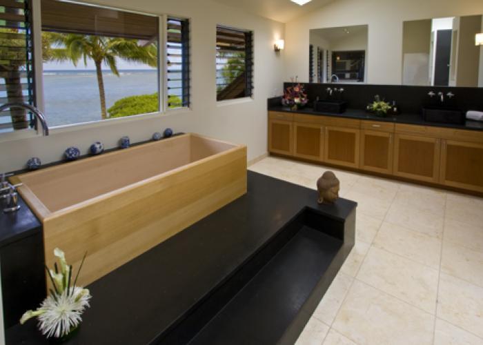 Bathroom with wooden tub