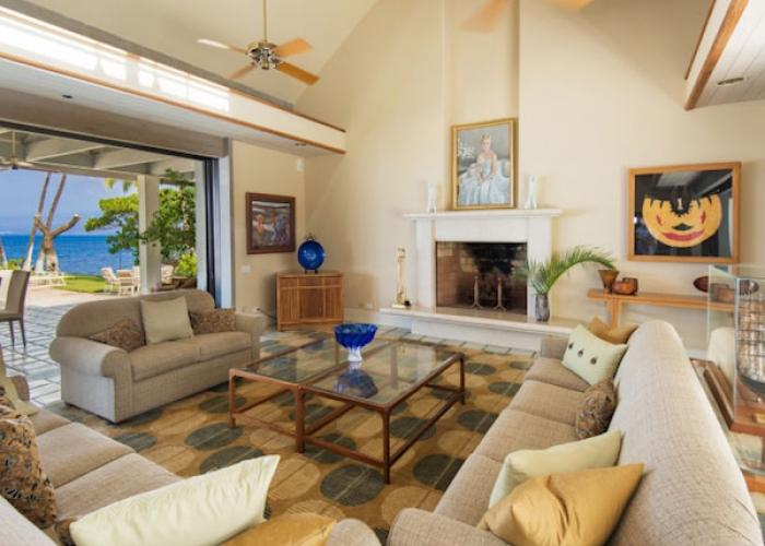 Family room with doors to exterior