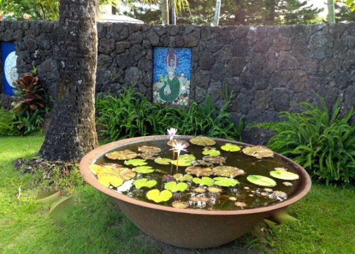 Lily pad pond at front entrance