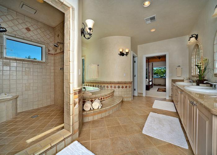 Bathroom with tub and walk-in shower