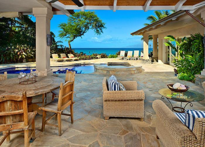 Outdoor dining table by pool