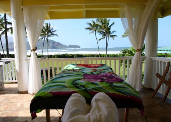 Massage table on lanai