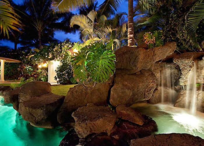 Waterfall into hot tub