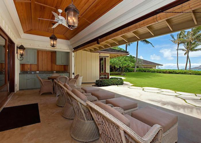 Back lanai with chairs and ocean views