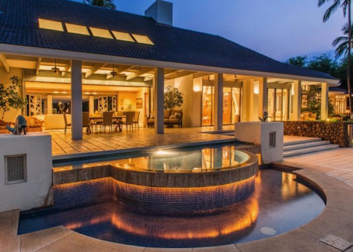 House and hot tub at dusk