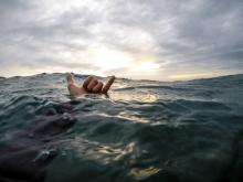 hawaiian swimming shaka at sunset
