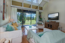 Living room with golf course view