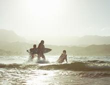 Hanalei Bay surfers