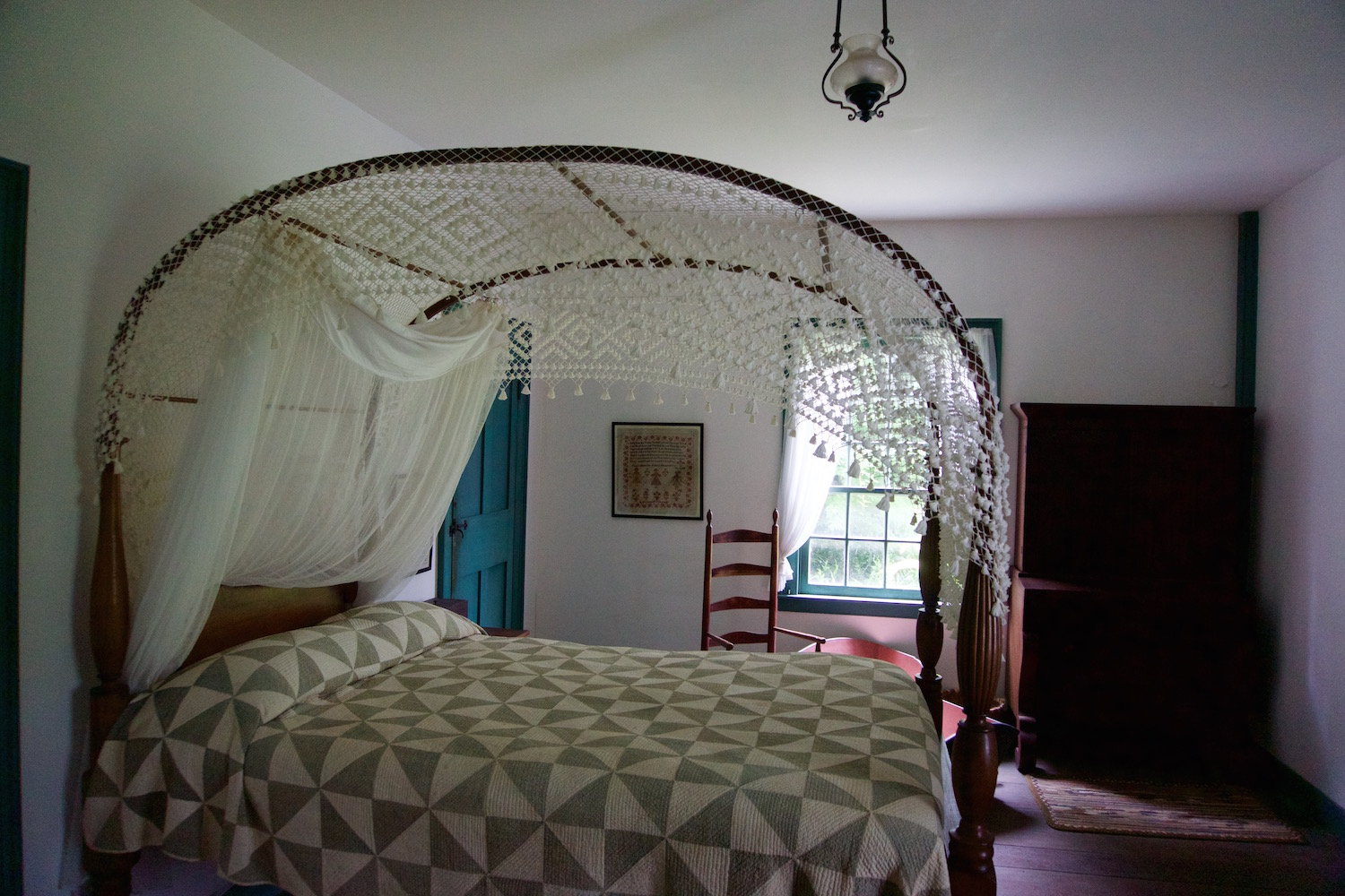 Bed with lace canopy