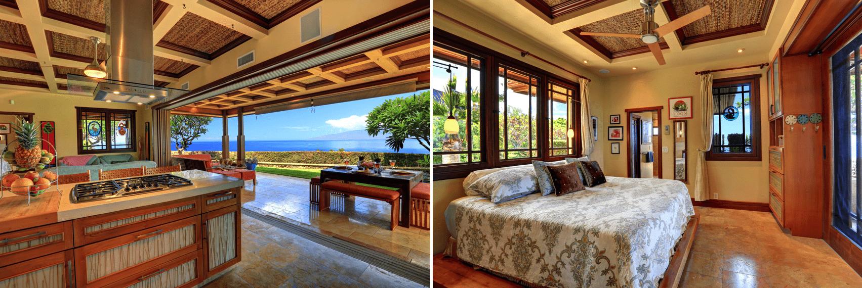 aloha spirit lahaina maui bedroom and kitchen