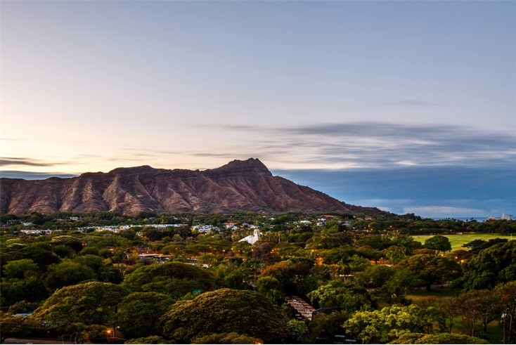A photo of Diamond Head, which can be found on Honolulu, Hawaii's Gold Coast.