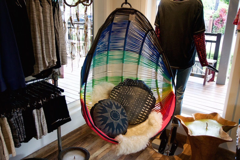 Hanging rainbow colored chair