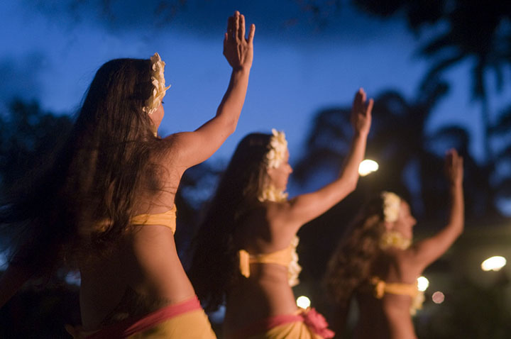 Hula Dancers at night