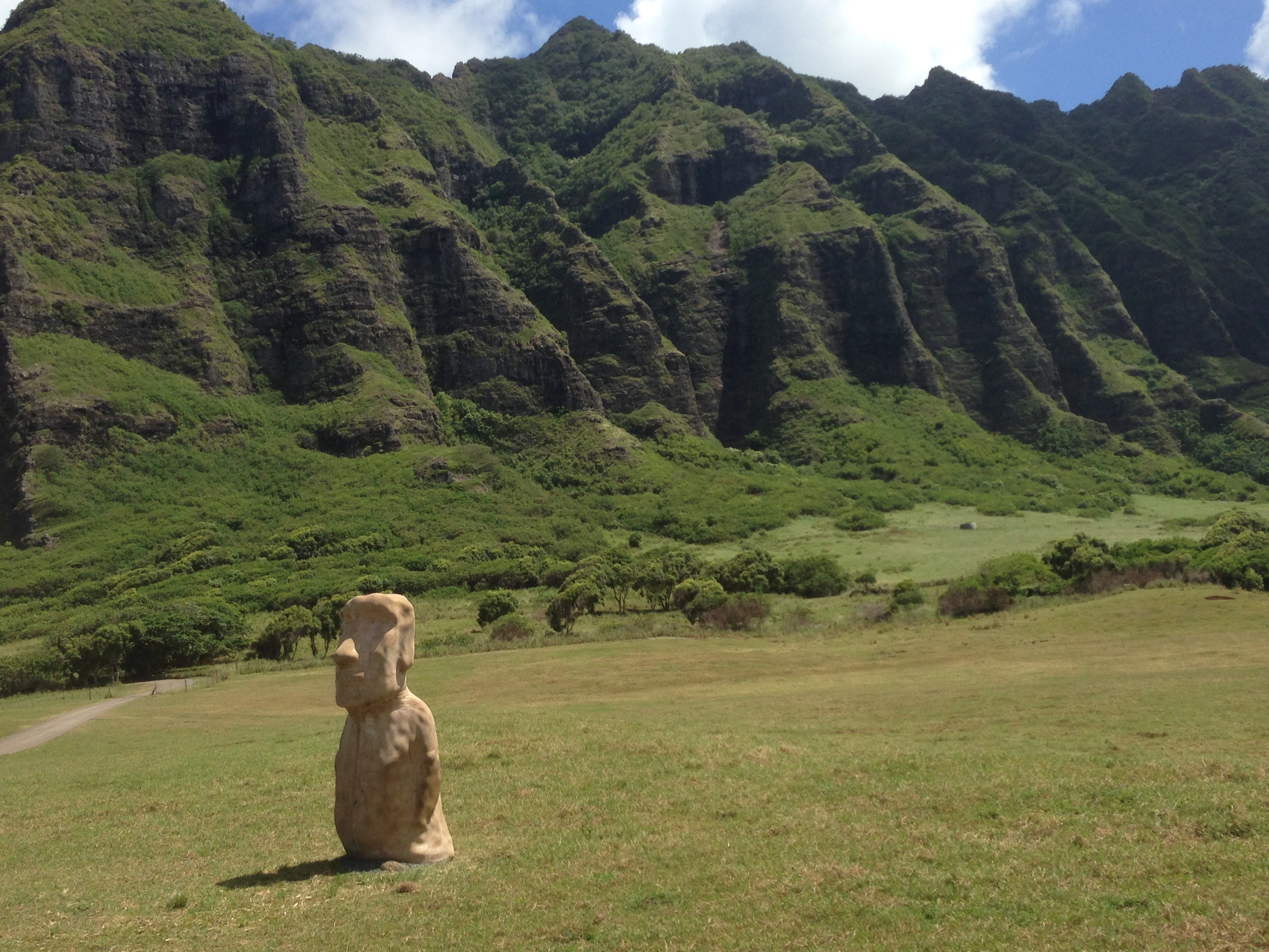 Movie set props in the valley at Kualoa Ranch