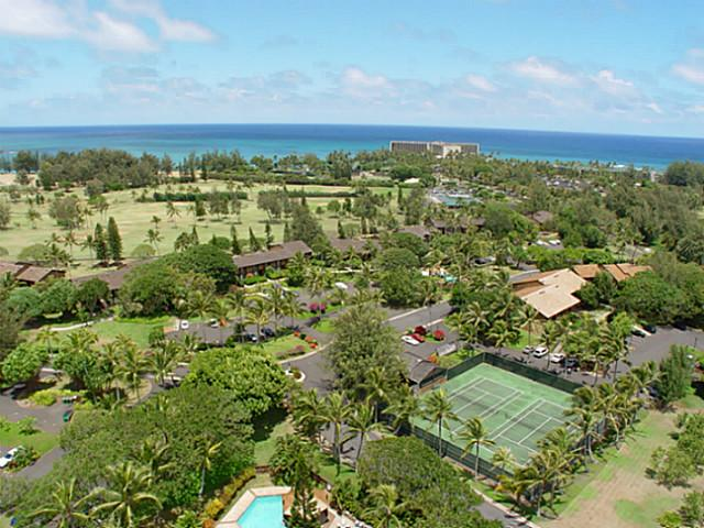 Overhead view of Kuilima Estates and resort